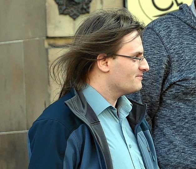 Daniel Edwards leaving Elgin Sheriff Court.