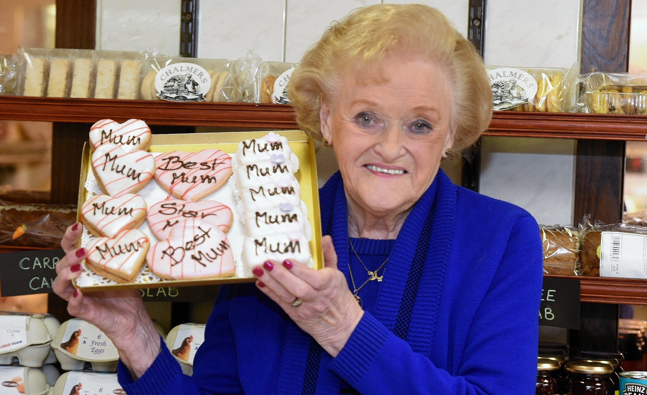 Sheila Chalmers after 60 years at Chalmers Bakery, Bucksburn.