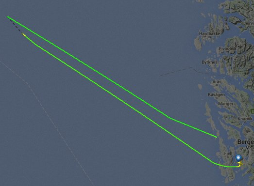The flight path of the helicopter from Bergen