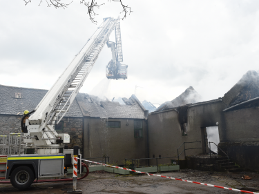 The building appears to have suffered extensive damage