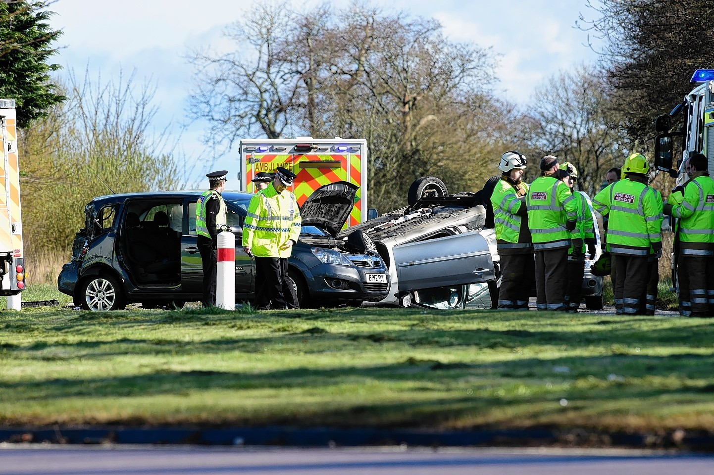The scene of the collision on the A90