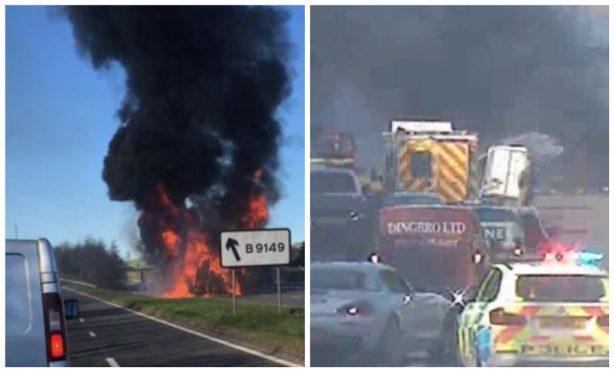 Lorry fire on the A92 near Lochgelly