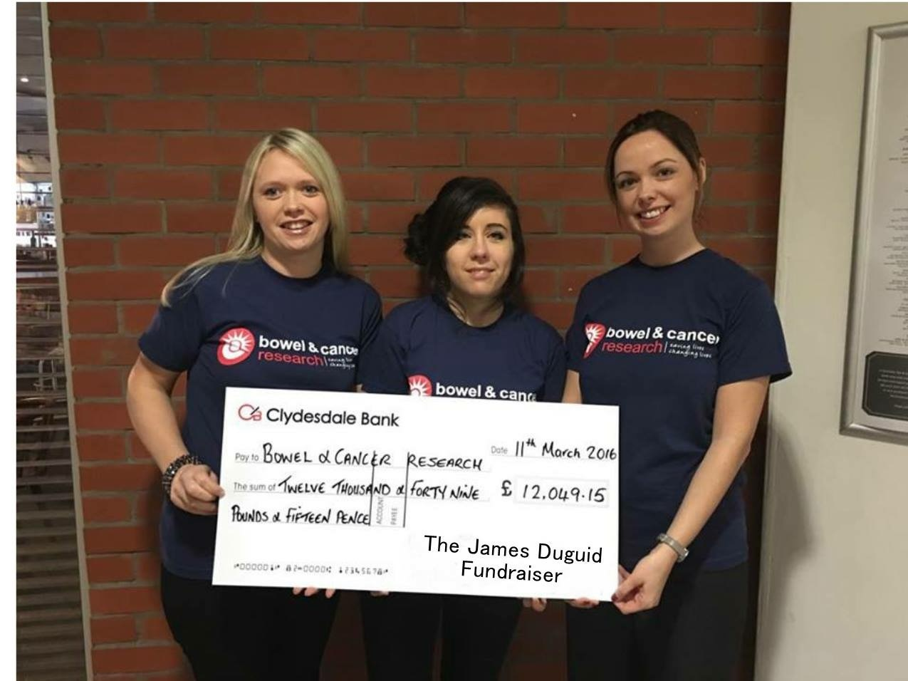Lynne Tracy, Amy Noss from Bowel & Cancer Research, Michelle Duguid