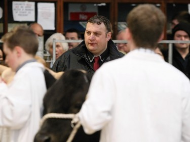 Blair Duffton casts his eye over the young farmers' cattle.