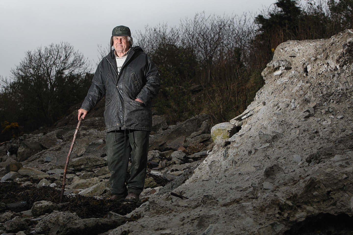 Donald Robertson at the flood defences near his croft in Milton of Culloden. Picture: Andrew Smith