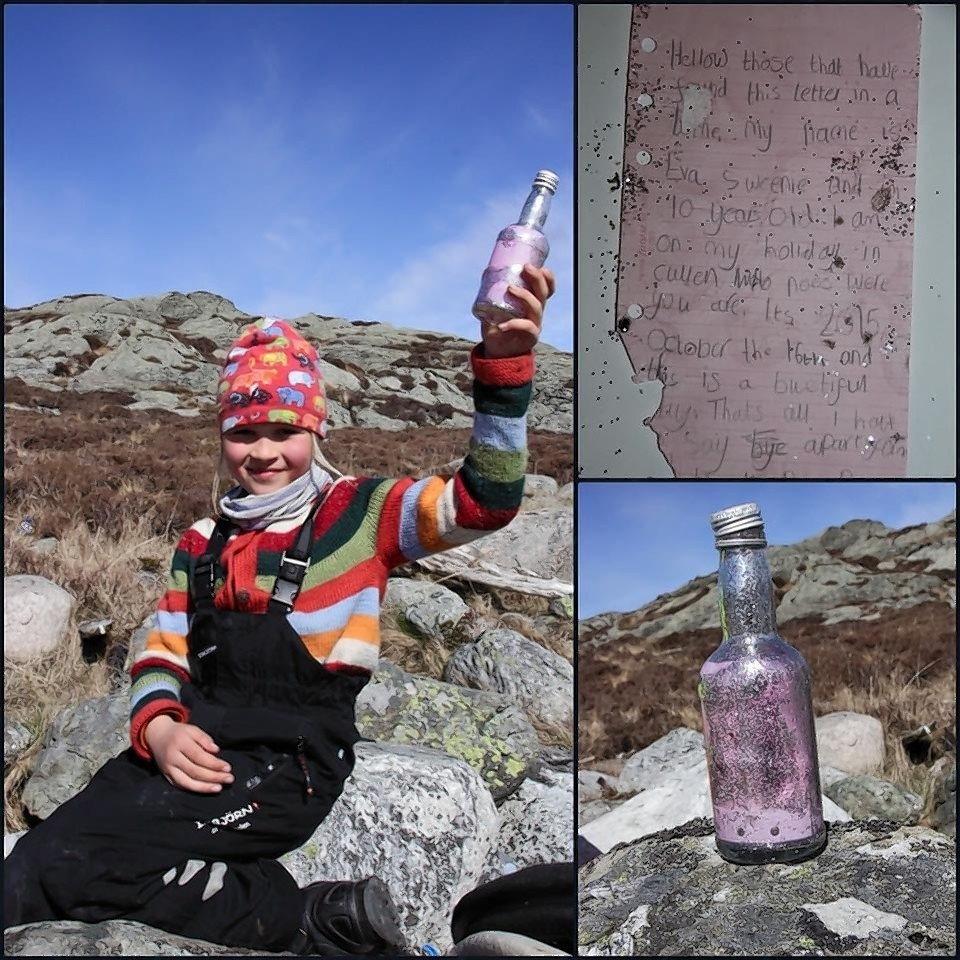 Seven-year-old Signe Rege found the message in a bottle