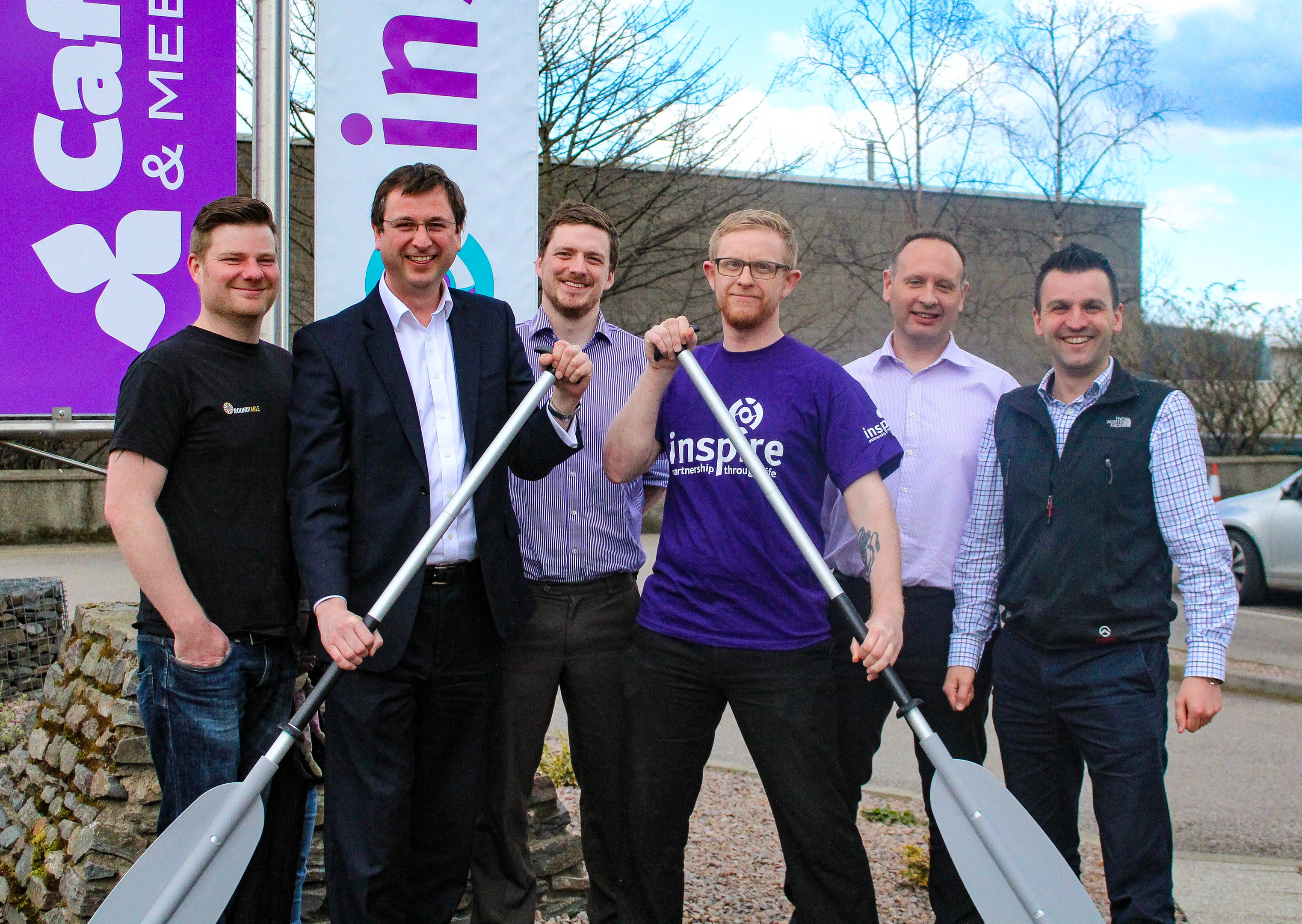 Inspire's Business Development Manager Duncan Peter (purple t-shirt) and Gregor Scott from Banchory & District Round Table launching the event along with other Round Table members