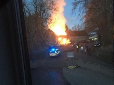The blaze started shortly before 5am. Picture by Lesley Simpson