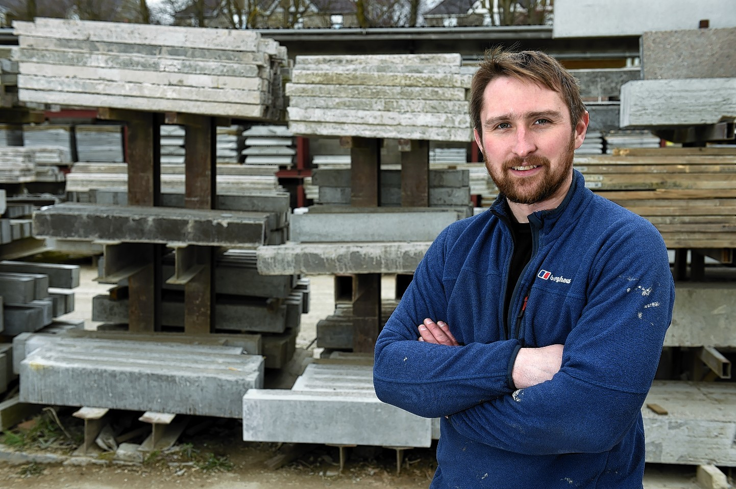 Keithhall Business Park was flooded with 5ft of water in January, Pictured is Jason Adie owner of Inverurie Precast Limited in Inverurie. Picture by KENNY ELRICK