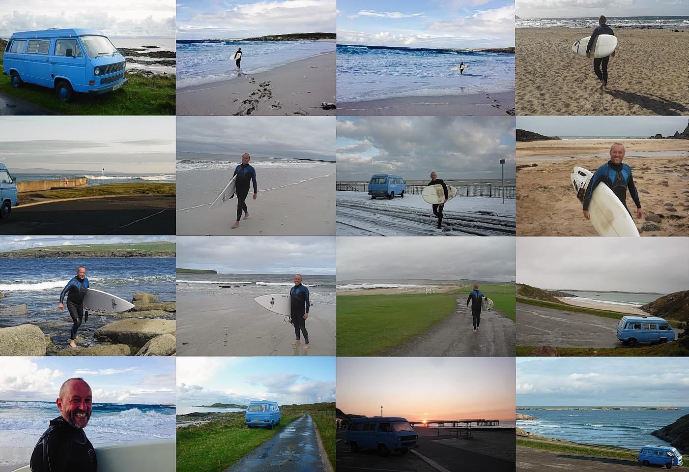 Jonathan Bennett surfing around the UK