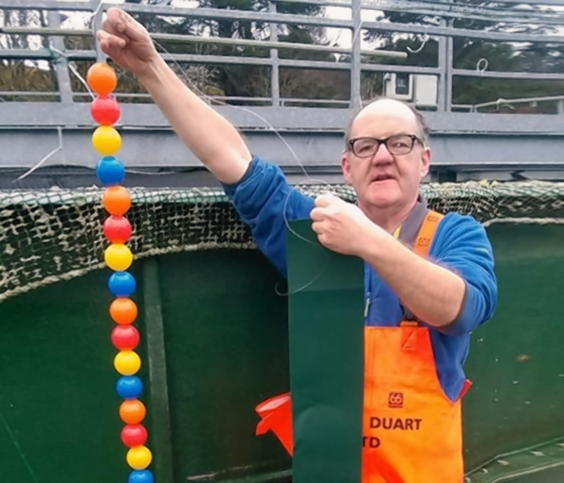 Loch Duart hatchery worker Hugh Ross with some of the toys