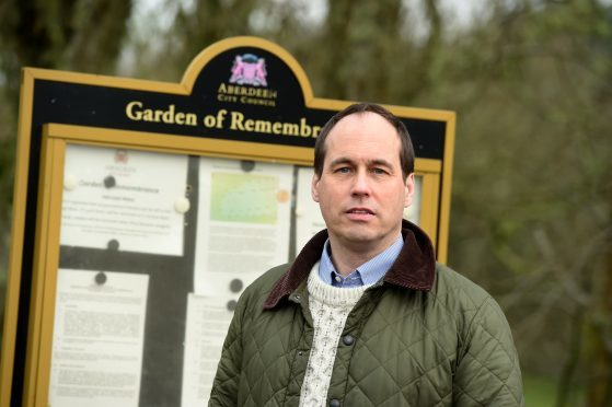 Councillor, Martin Greig at the Garden of Rememberance at the Aberdeen Crematorium, Aberdeen.  Picture by Jim Irvine