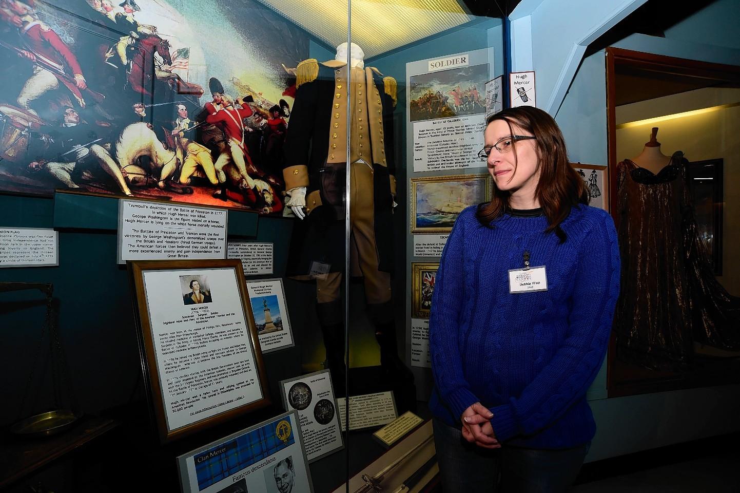 Fraserburgh Heritage Centre guide Debbie Watt at the General Hugh Mercer exhibition