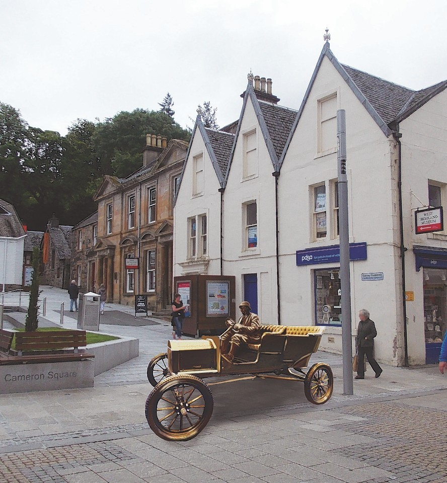 Artist's impression of how the bronze Model T will look in Cameron Square