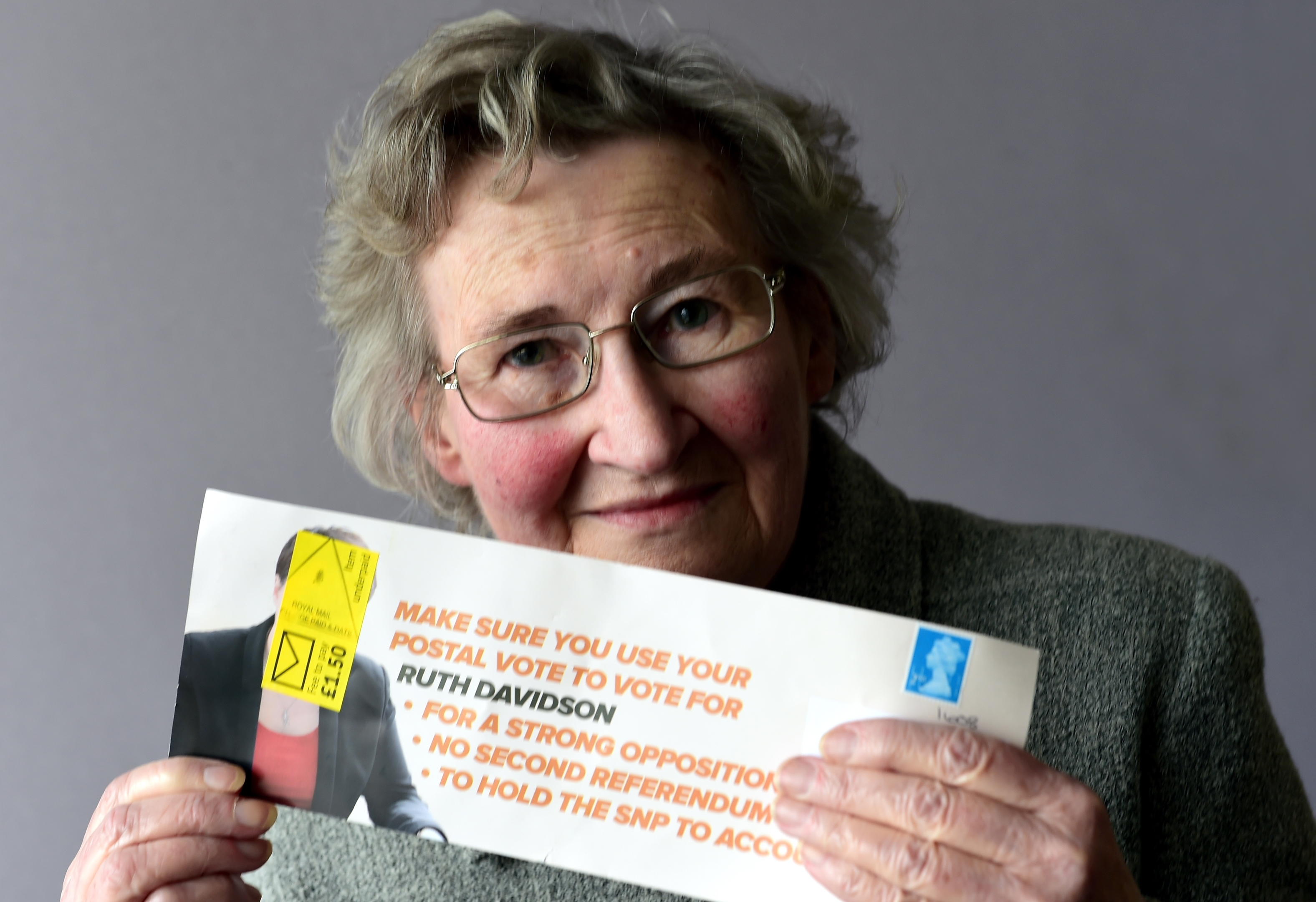 Elizabeth Sinclair of Kincorth, was sent a flyer from the Conservative Party featuring Scottish Leader Ruth Davidson for the upcoming Scottish Election, but due to not having the correct postage payment on it, Elizabeth had to pay the balance to receive it not knowing what it was.     Picture by Kami Thomson    21-04-16