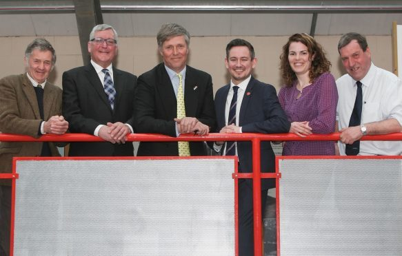 Philip Anderson, Fergus Ewing, Edward Mountain, Sean Morton, Isla O'Reilly and NFUS regional chairman for the Highlands, Jim Whiteford