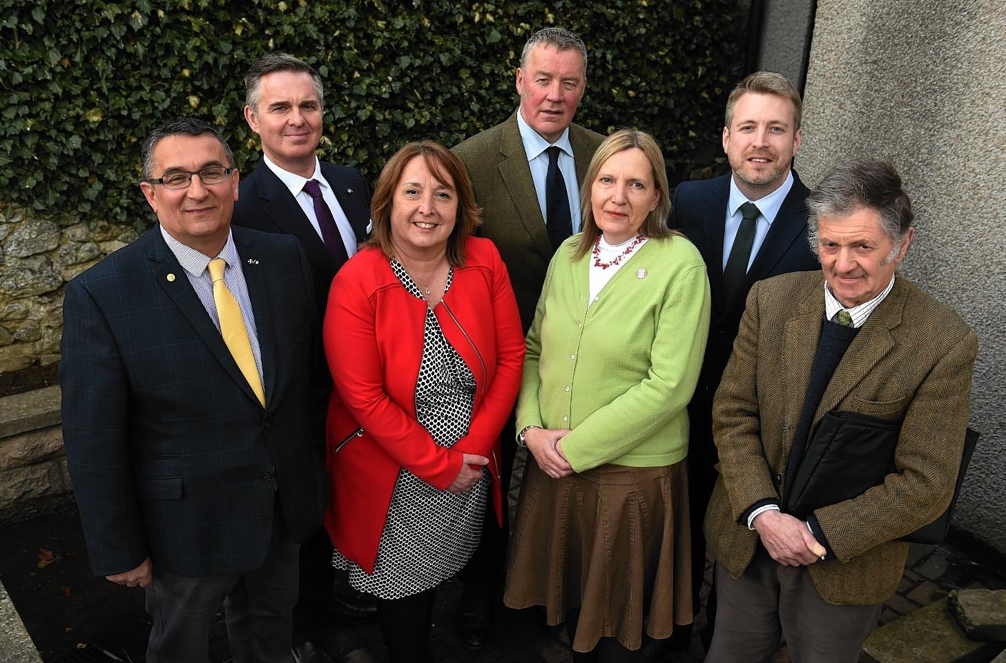 Christian Allard, Colin Clark, Christine Jardine, NFUS vice president Andrew McCornick, Sarah Flavell, Dan Yeats and Philip Anderson