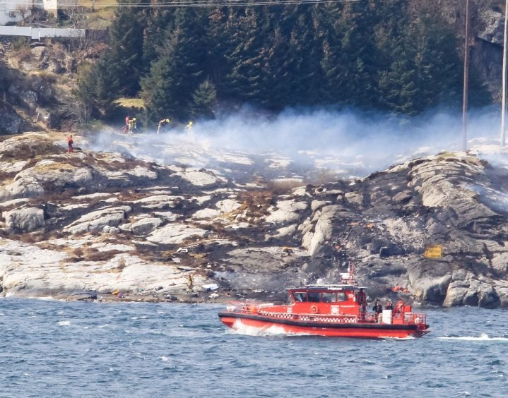 Scene of the helicopter crash in Norway.
