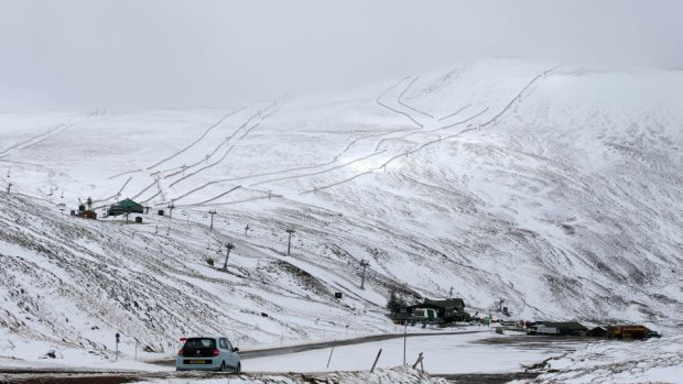 Glenshee Ski Centre after snowfall.