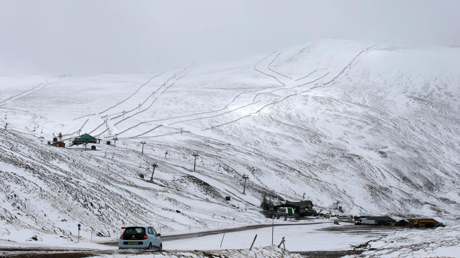 Glenshee Ski Centre after snowfall.