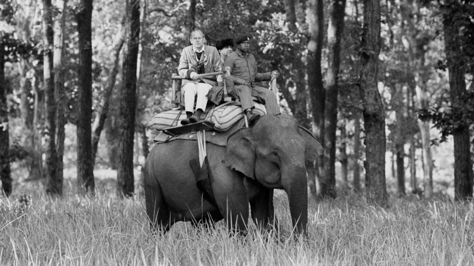Prince Philip was pictured sitting atop an elephant while visiting the Kanha Game Reserve during their 10-day tour of the nation in the early 80s