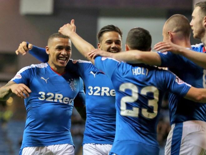 Rangers' James Tavernier (left) celebrates scoring the goal which returned Rangers to the top flight in Scotland