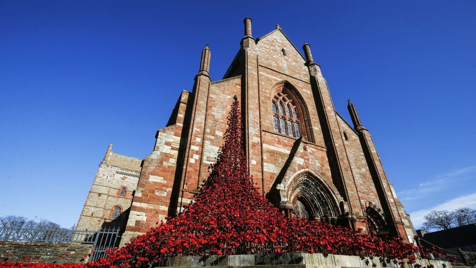 The Weeping Window sculpture made of ceramic poppies at St Magnus Cathedral in Orkney, Scotland