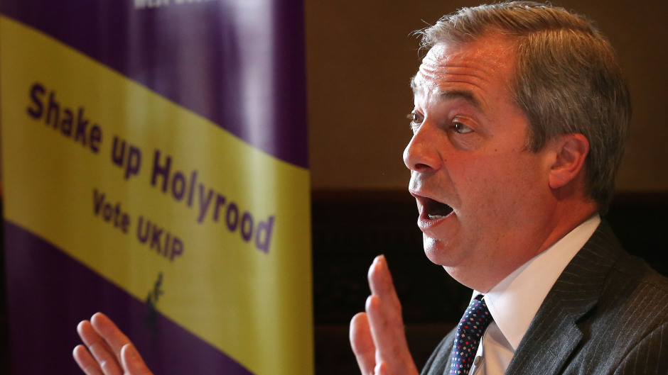 Nigel Farage has launched Ukip's manifesto for the Scottish Parliament election