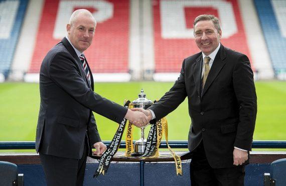 Rangers manager Mark Warburton and Peterhead boss Jim McInally