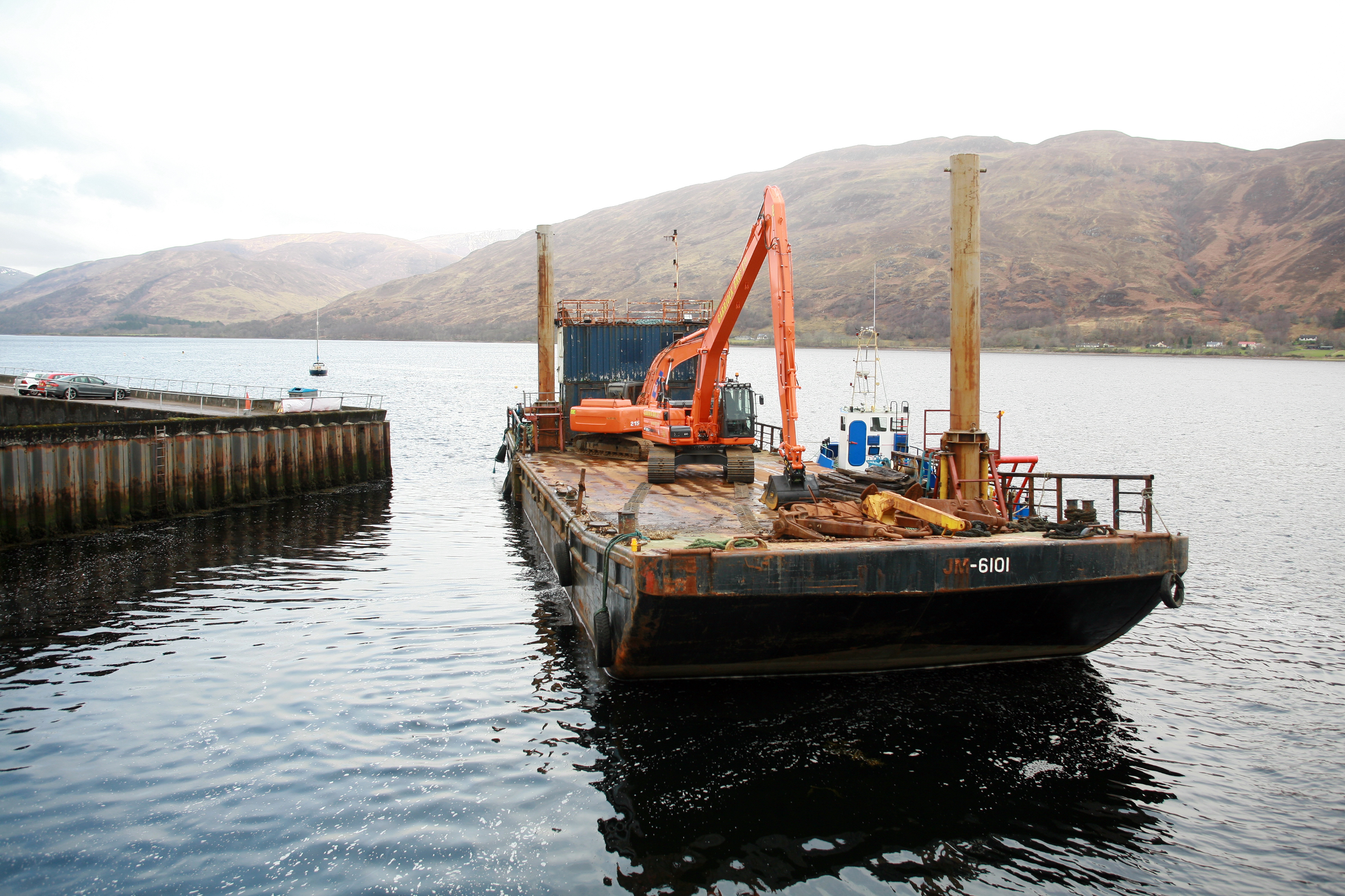 Work is under way on installing floating pontoons by the West End Car Park in Fort William
