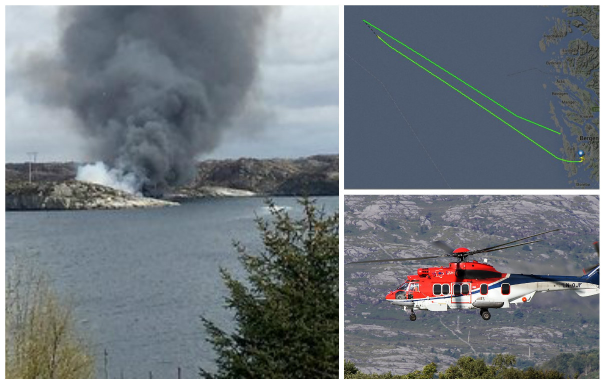 Scene of the helicopter crash in Norway. Picture credit NRK.co