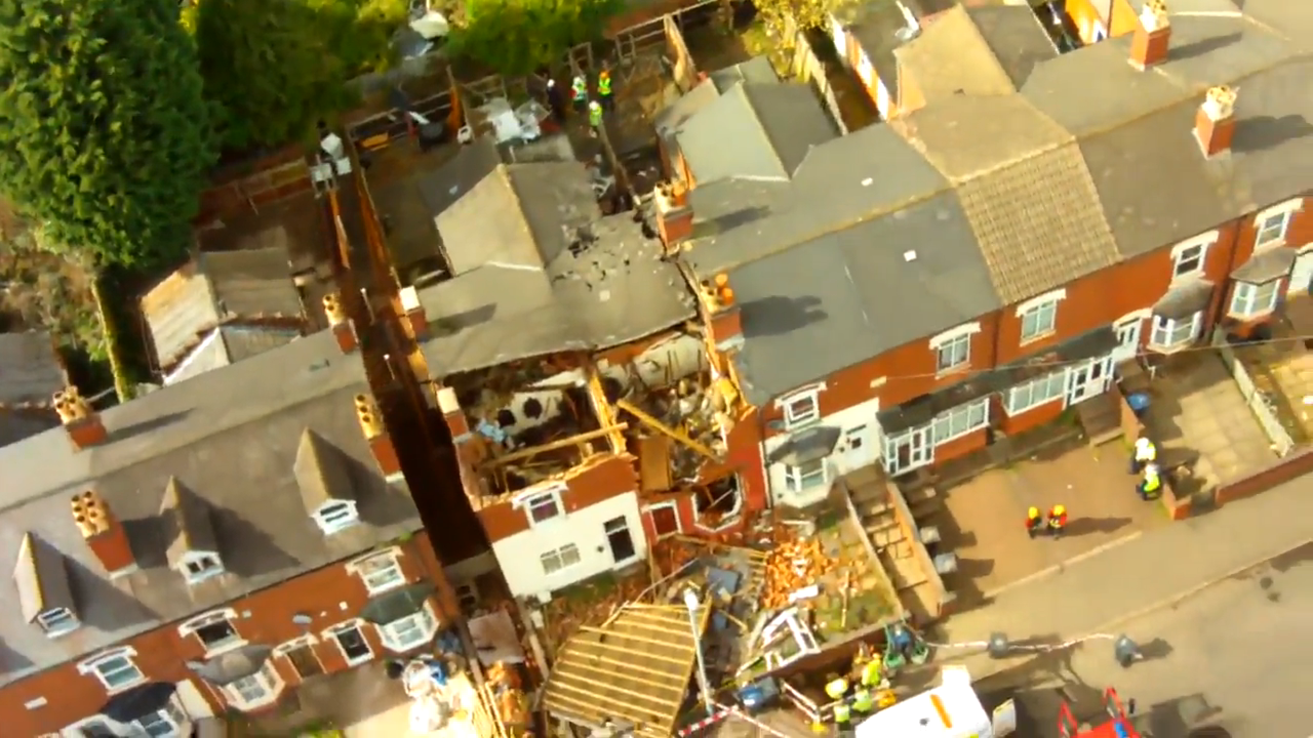 Aerial footage from the gas blast in the West Midlands