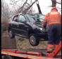 The car is lifted from the river