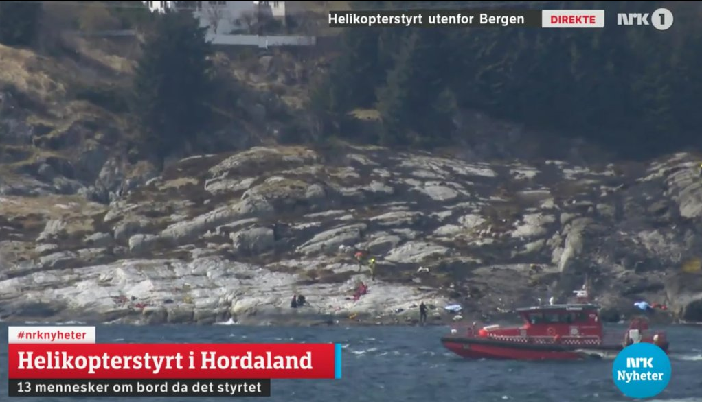 The scene of the crash covered on Norwegian television