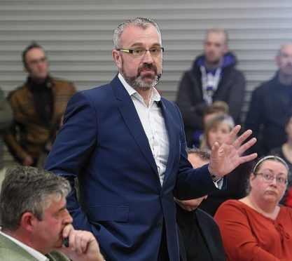 Steve Gordon of the Highlands Against the Proposed Prison Location campaign group at the meeting. Picture: Andrew Smith