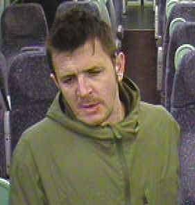 A CCTV image of the man suspected of assaulting a woman on a train