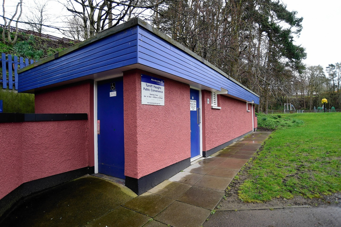 The public toilets operated by Aberdeenshire Council in Turriff.
