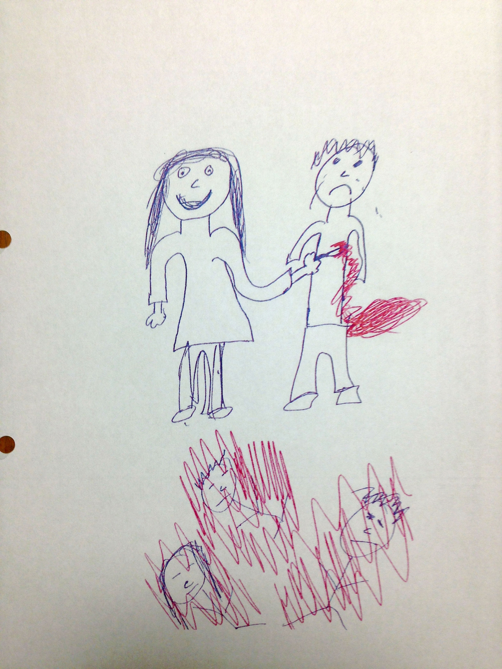 Undated handout photo released by Leeds Crown Court of a drawing done by one of the defendants found by police after her arrest,
