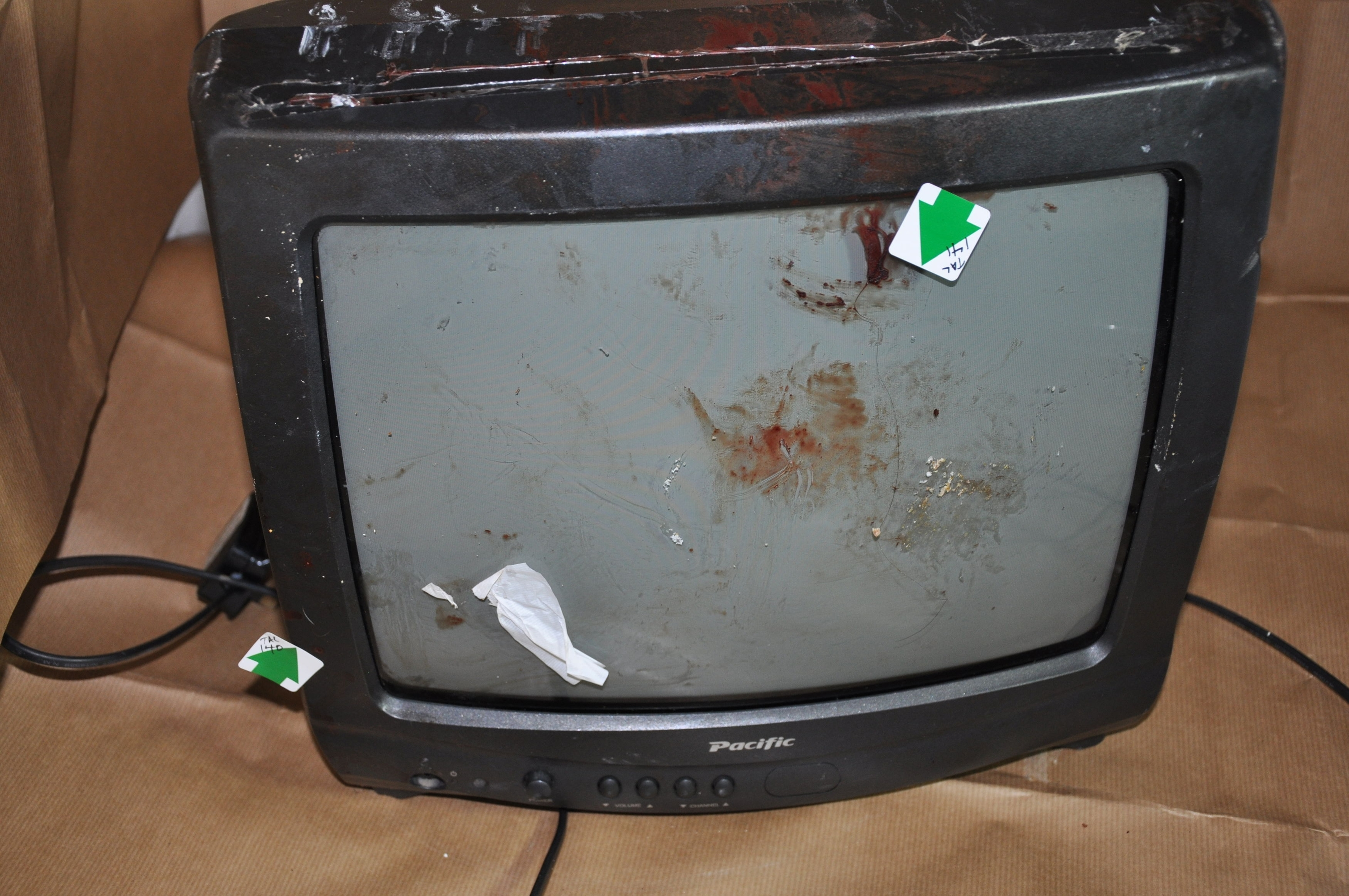 Undated handout photo issued by Cleveland Police of a television which was used as a weapon by two teenage girls who have been found guilty of murdering 39-year-old Angela Wrightson in her own home.