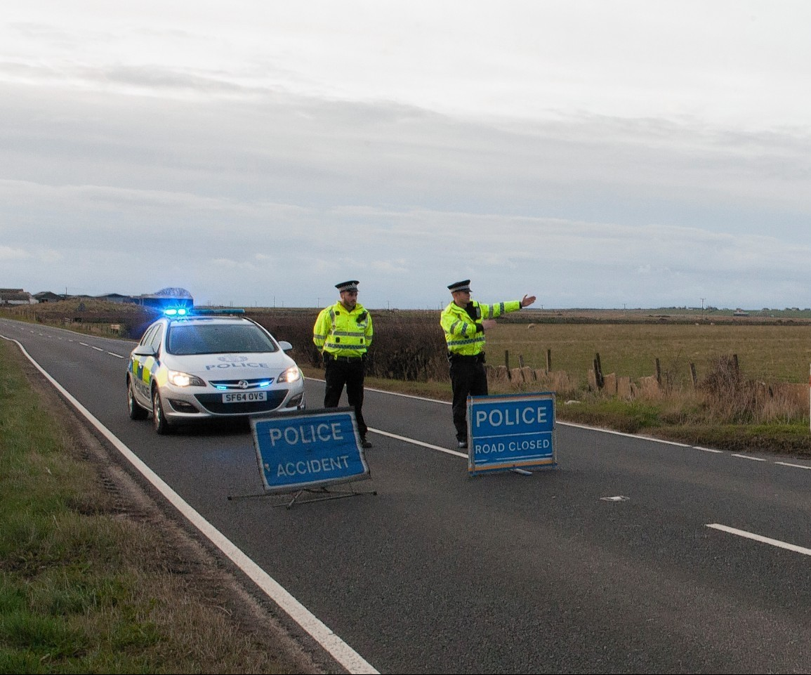 Police close the A9 after a fatal accident near Thurso earlier this month.