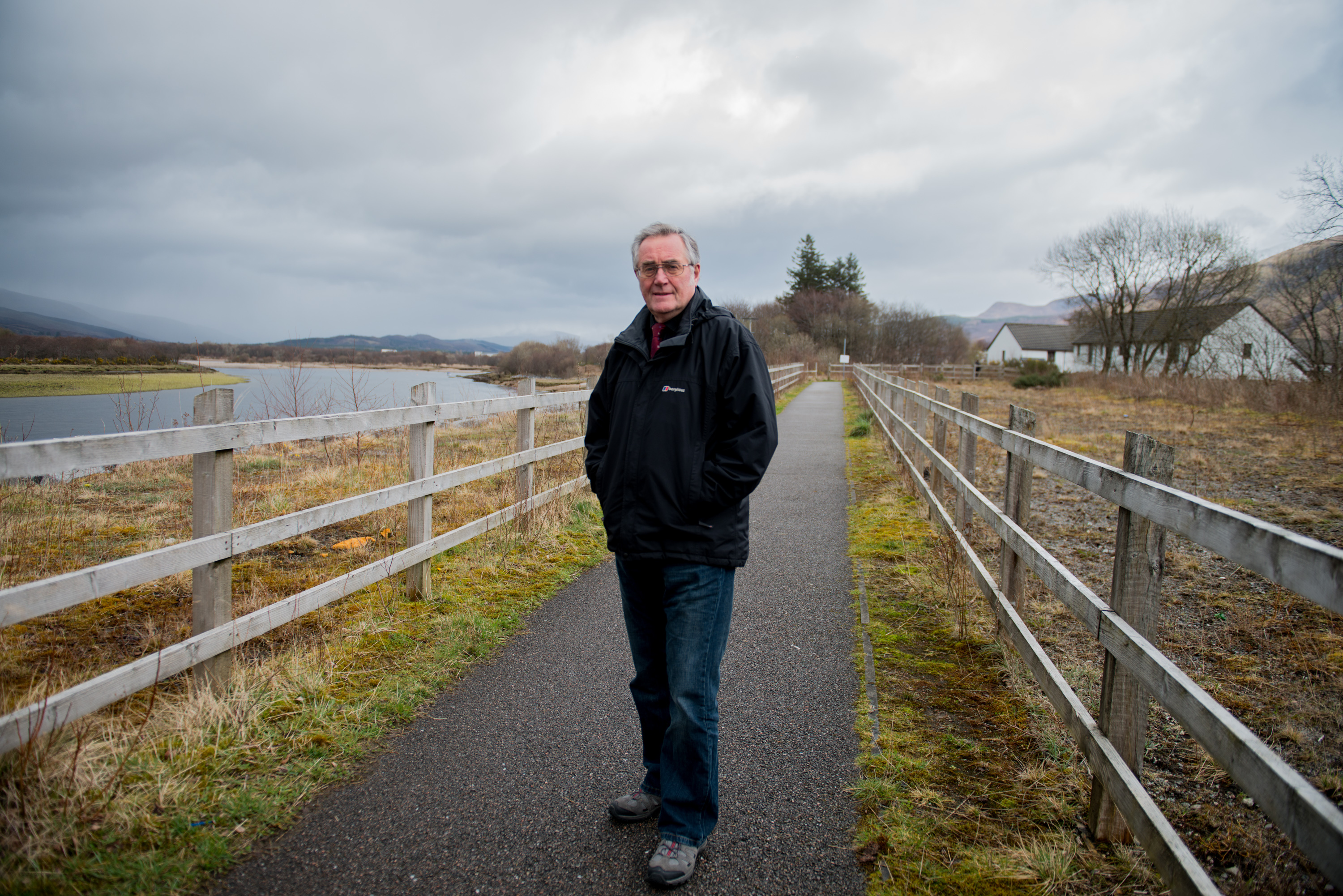 Councillor Brian Murphy at the proposed site of the Caol link road