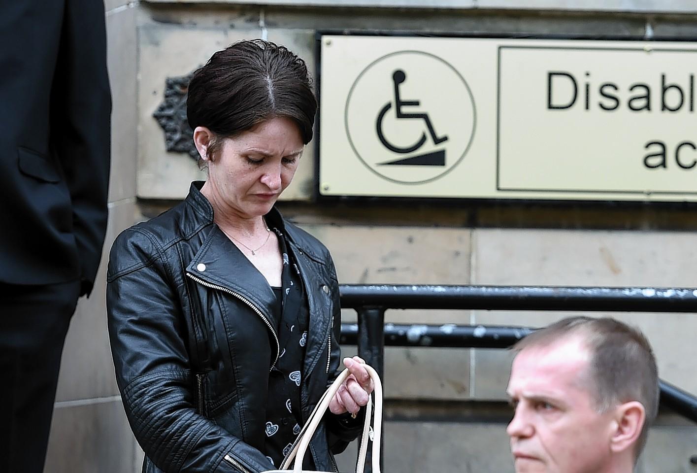 Hazel Innes leaving Elgin Sheriff Court.