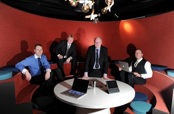 James Bream, Research and Policy Director Aberdeen & Grampian Chamber of Commerce, Andy Willox, Vice Chair of the UK National Policy Committee FSB, Ian Armstrong, SCDI Regional Director and Professor Gary McEwan, Chief Executive Elevator, at Elevator at The Hub, Aberdeen Energy Park.   Picture by Kevin Emslie