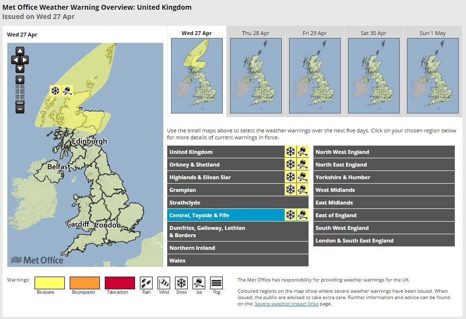 Snow forecast for the north of Scotland