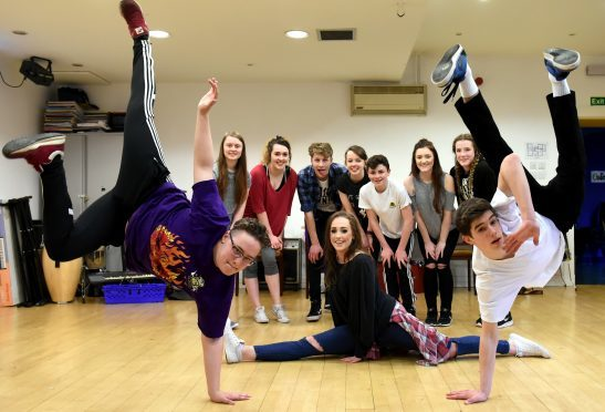 The Hip-Hop school rehearsals are underway for the Survival concert (2016) that includes dancers, rappers and singers – it's to help children from tougher backgrounds.  Picture of (L-R) Ethan Park, Amber Gorazdowski, Harris Buyers and class during rehearsals.