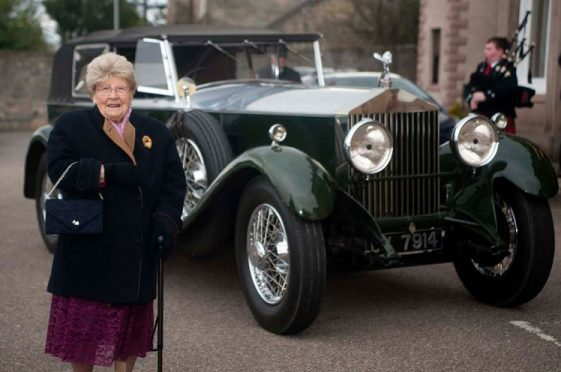Elgin pensioner Janet Shand was driven to her 100th birthday celebrations in a vintage 1920s Rolls Royce. (Picture: Michael Traill)