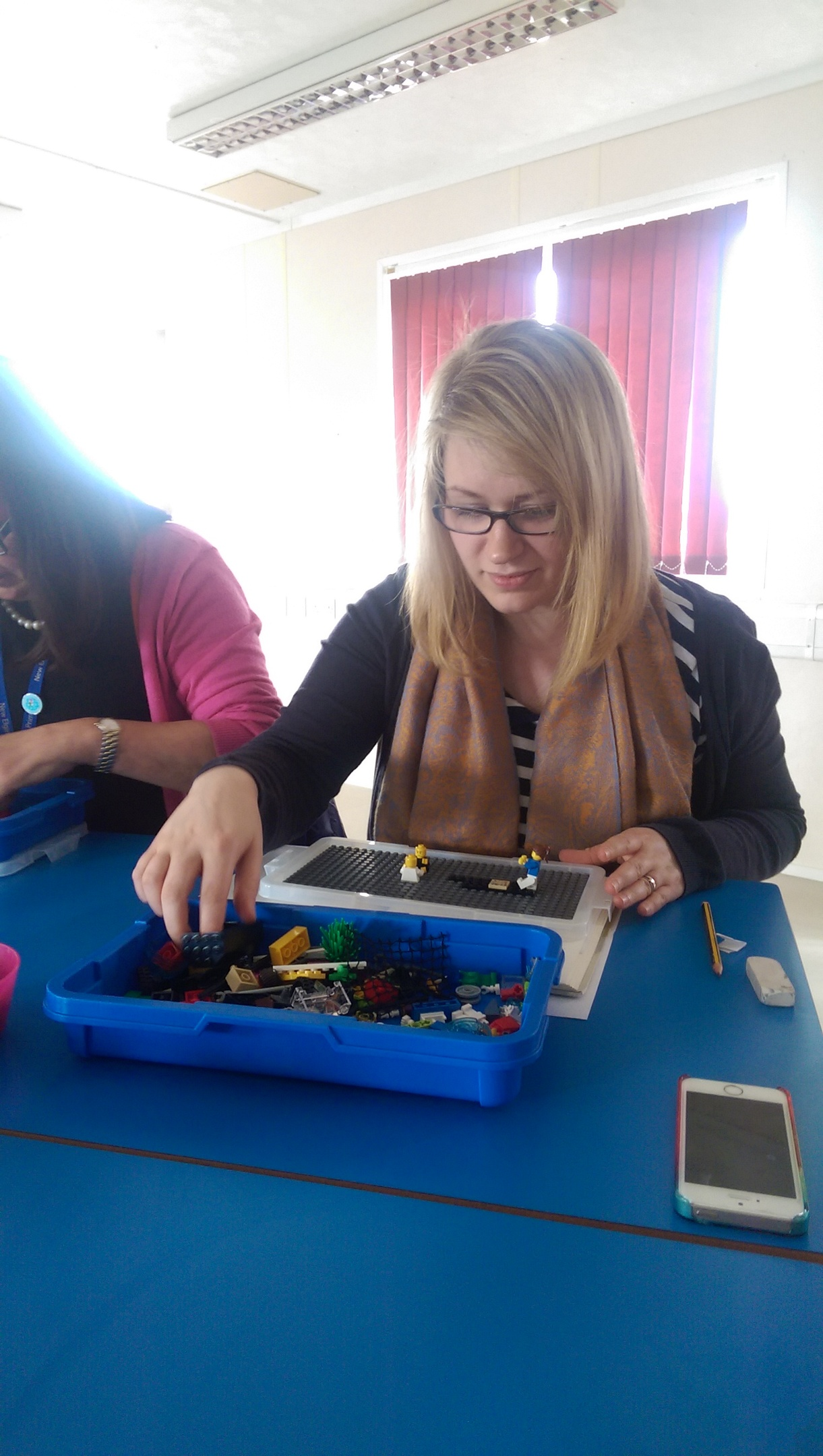 New Elgin Primary School acting Depute Headteacher Jen Spencer gets to grips with Lego training.