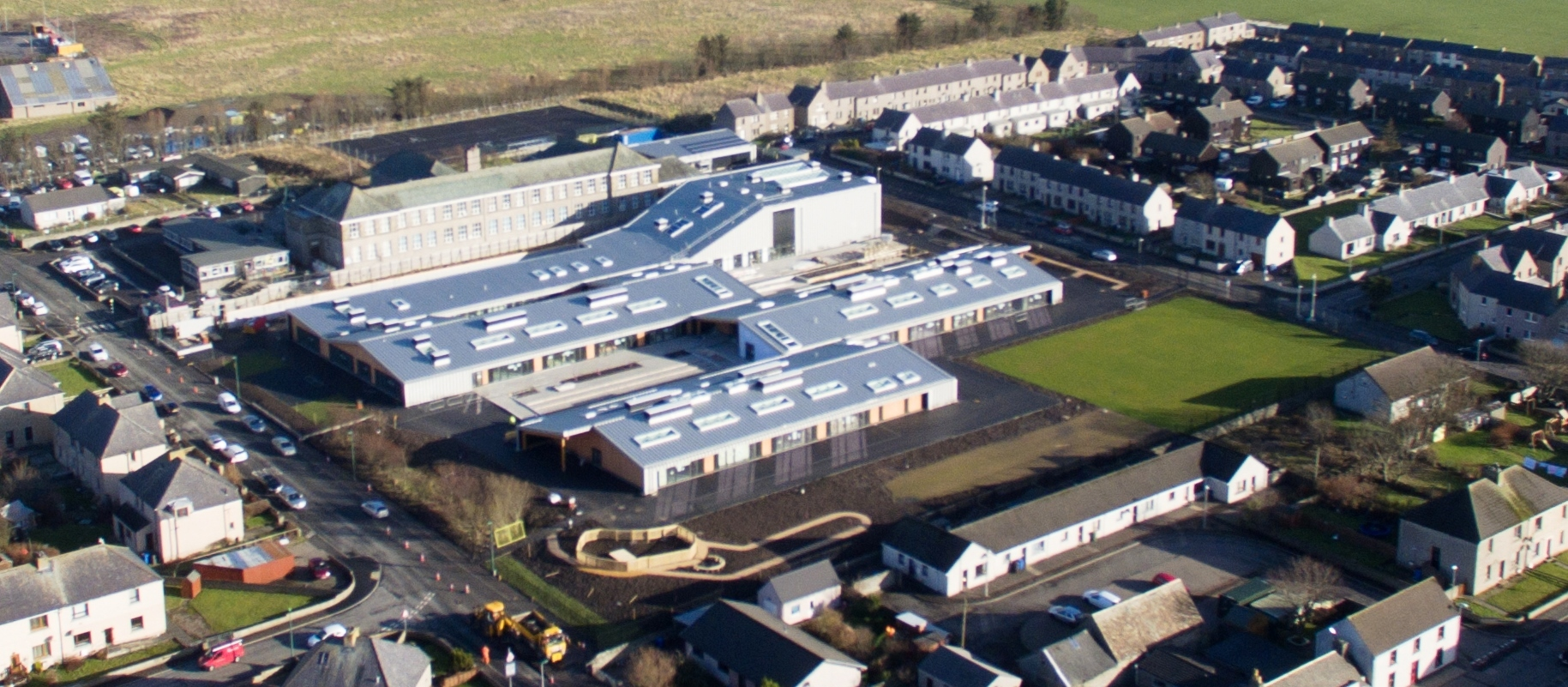An aerial view of the new Noss Primary School