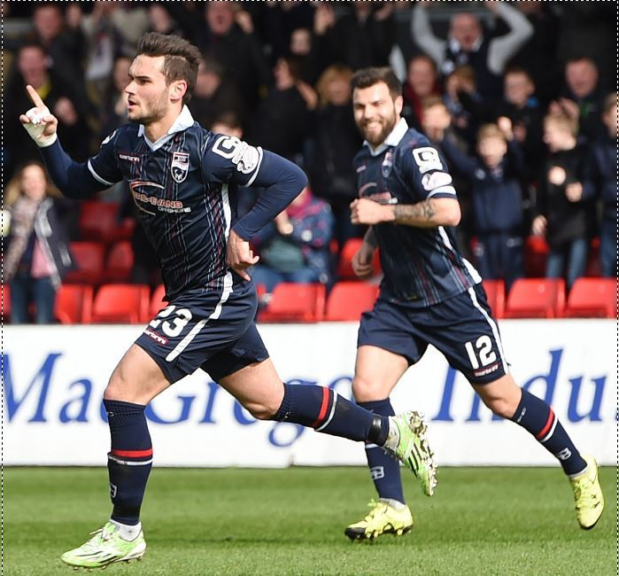Ross County's Alex Schalk celebrates after opening the scoring (Picture: SNS)