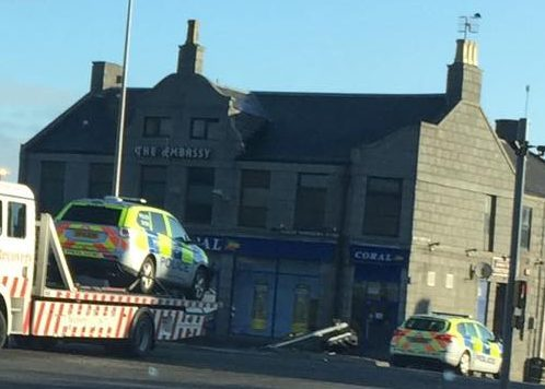 Scene of the police car crash on Great Northern Road, Aberdeen